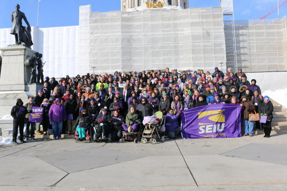 Faculty at the Minneapolis College of Art & Design are joining the growing ranks of SEIU members in Minnesota. Some of the union's nearly 60,000 members in the state are shown at their lobby day at the state Capitol earlier this year. Union Advocate photo