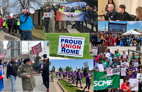 Photo collage of union members