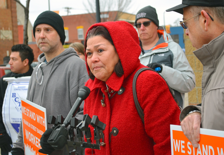 Rosa Baires, pictured at a rally outside FSB in December, used to work at the bakery, but after taking time off to be with her dying ex-husband, the company told her she no longer had a job – an example, she said, of why workers there need a union.