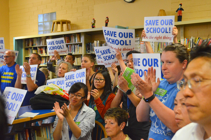 CSE staff and supporters packed the school's June 9 board meeting. Union Advocate photo