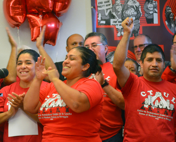 Retail janitors celebrated recognition of their union last fall after a six-year campaign.
