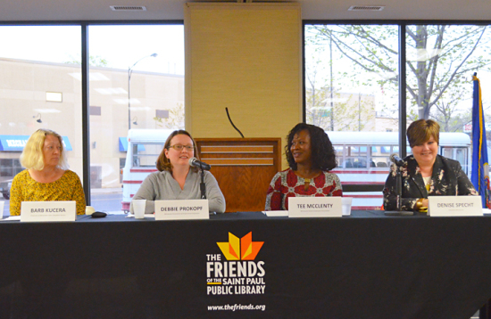Workday Minnesota Editor Barb Kucera (L) moderated a discussion with public-sector union leaders (L to R) Debbie Prokopf of MAPE, Tee McClenty of MSEA and Denise Specht of Education MN.